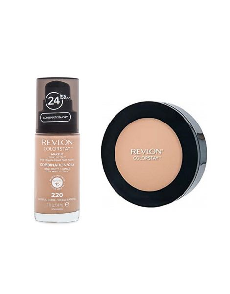 Revlon Colorstay Pachet (Fond Ten Gras Combinat 220 Natural Beige + Pudra 830 Light Medium)