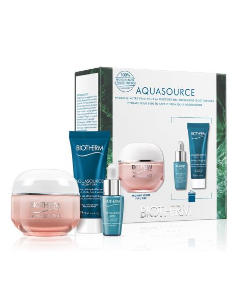 Biotherm Aquasource Set (Crema gel 50ml + Balsam Night SPA 20ml + Ser Life Plankton 7ml)