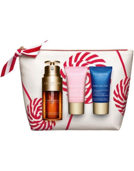Clarins Set (Double Serum Ser Fata 30ml + Crema Zi Multi Active 15ml + Crema Noapte Multi Active15ml + Pouch)