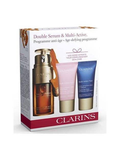 Clarins Set (Double Serum Ser Fata 30ml + Crema Zi Multi Active 15ml + Crema Noapte Multi Active 15ml)
