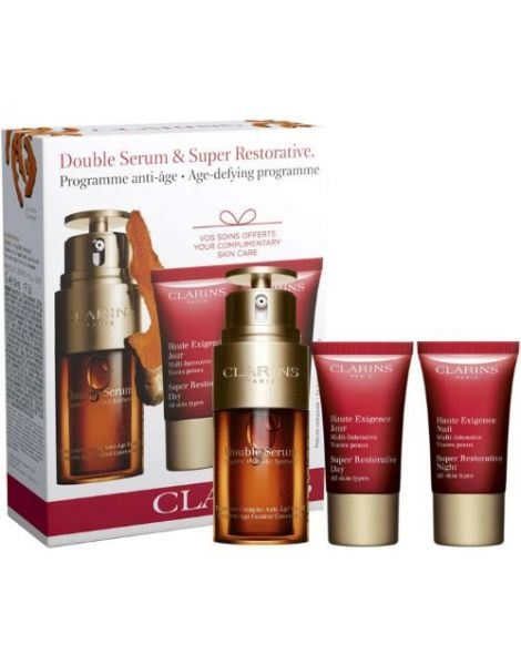 Clarins Set (Double Serum Ser Fata 30ml + Crema Zi Super Restorative 15ml + Crema Noapte Super Restorative 15ml)