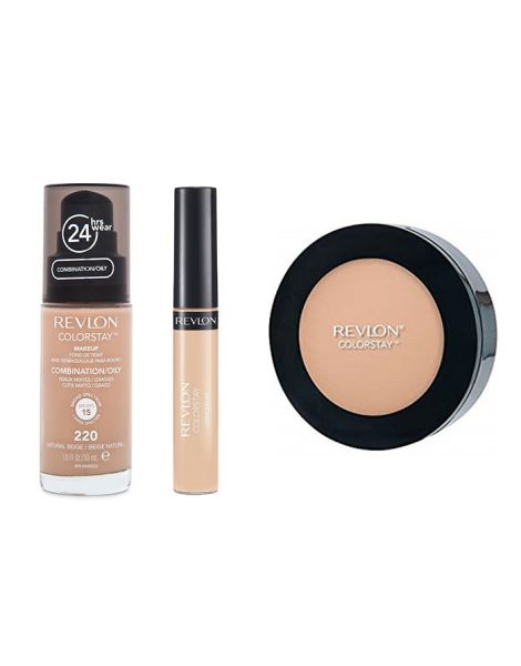 Revlon Colorstay Pachet (Fond Ten Gras Combinat 220 Natural Beige + Concealer 03 Light Medium + Pudra 830 Light Medium)