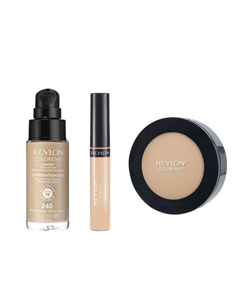 Revlon Colorstay Pachet (Fond Ten Gras Combinat 240 Medium Beige + Concealer 03 Light Medium + Pudra 840 Medium)