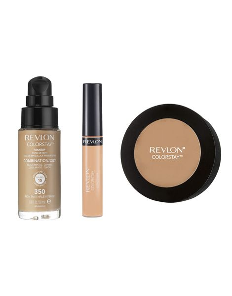 Revlon Colorstay Pachet (Fond Ten Gras Combinat 350 Rich Tan + Concealer 05 Medium Deep + Pudra 850 Medium Deep)