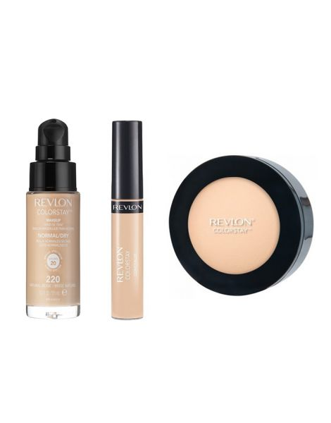 Revlon Colorstay Pachet (Fond Ten Normal Uscat 220 Natural Beige + Concealer 03 Light Medium + Pudra 830 Light Medium)