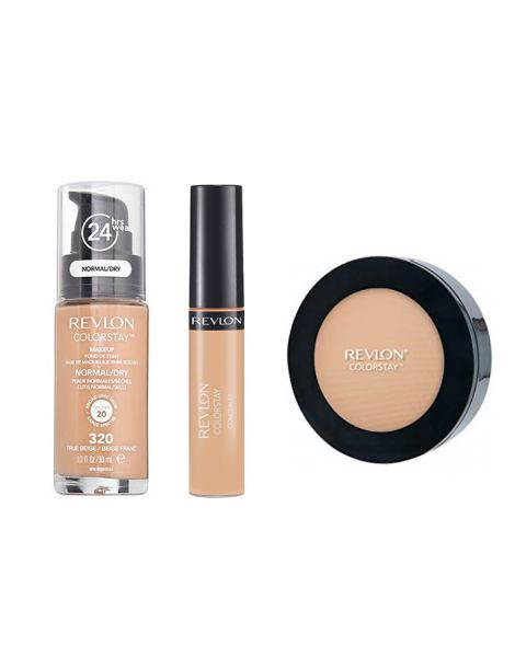 Revlon Colorstay Pachet (Fond Ten Normal Uscat 320 True Beige + Concealer 05 Medium Deep + Pudra 840 Medium)