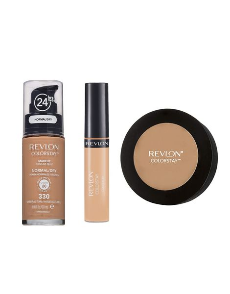 Revlon Colorstay Pachet (Fond Ten Normal Uscat 330 Natural Tan + Concealer 05 Medium Deep + Pudra 850 Medium Deep)