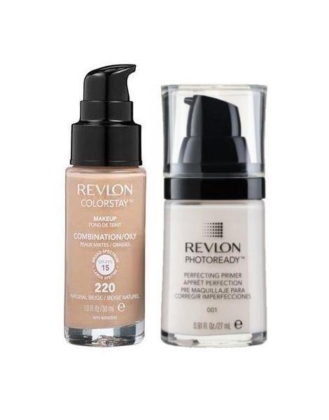 Revlon Pachet (Fond Ten Colorstay Ten Gras Combinat 220 Natural Beige + Primer Photoready 27ml)