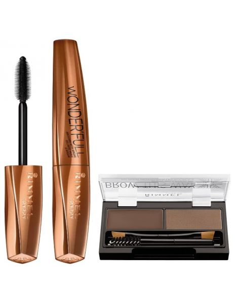 Rimmel Pachet Wonder'Full (Mascara Argan Oil + Kit Stilizare Sprancene 02)