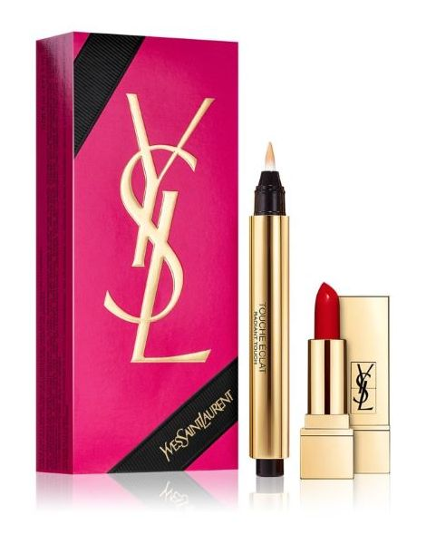 Yves Saint Laurent Touche Eclat Set (Corector Anticearcan 02 Ivoire Lumiere + Mini Ruj Pur Couture 01)